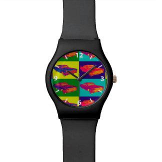 Colorful 1960 Cadillac Luxury Car Pop Art Wristwatch