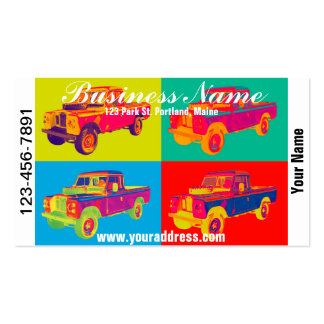 Colorful 1971 Land Rover Pickup Truck Pop Art Double-Sided Standard Business Cards (Pack Of 100)