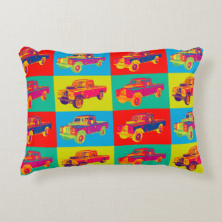 Colorful 1971 Land Rover Pickup Truck Pop Art Decorative Pillow
