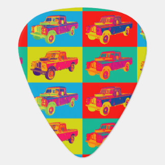 Colorful 1971 Land Rover Pickup Truck Pop Art Guitar Pick