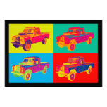 Colorful 1971 Land Rover Pickup Truck Pop Art Photo Print