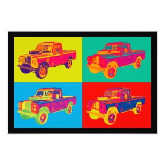 Colorful 1971 Land Rover Pickup Truck Pop Art Photo Art