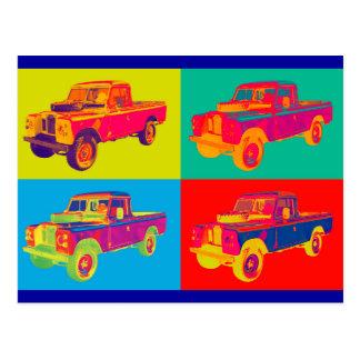 Colorful 1971 Land Rover Pickup Truck Pop Art Postcard