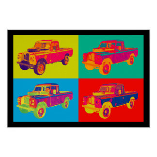 Colorful 1971 Land Rover Pickup Truck Pop Art Poster