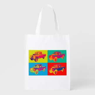 Colorful 1971 Land Rover Pickup Truck Pop Art Reusable Grocery Bag