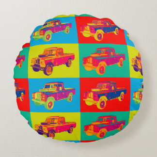 Colorful 1971 Land Rover Pickup Truck Pop Art Round Pillow