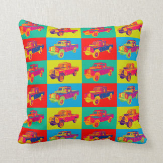 Colorful 1971 Land Rover Pickup Truck Pop Art Throw Pillow