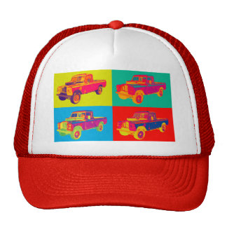 Colorful 1971 Land Rover Pickup Truck Pop Art Trucker Hat