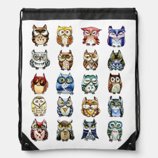 Colorful 19 owls and 1 cat drawstring bag