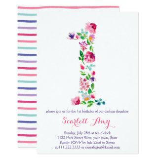 colorful 1st birthday invitations, pink purple card