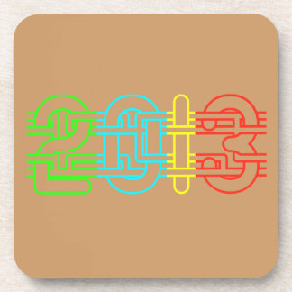 Colorful 2013 drink coaster
