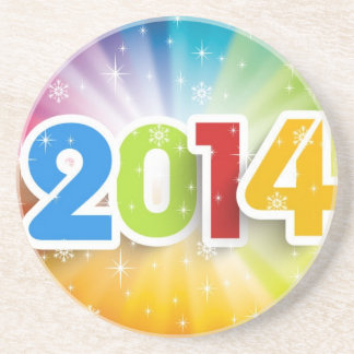 COLORFUL 2014 YEAR VECTOR BEVERAGE COASTERS