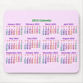 Colorful 2015 Year Calendar Mouse Pads