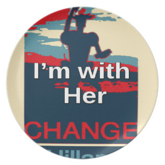 Colorful 2016 I am with her Vote for Hillary USA S Plate