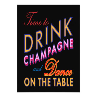 Colorful 21st Birthday Time to Drink Champagne Invites