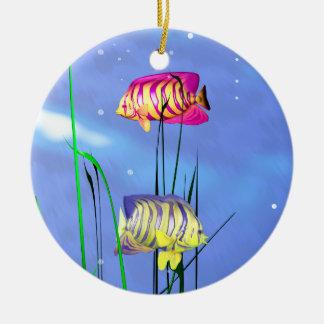 Colorful 3d Angelfish Ceramic Ornament