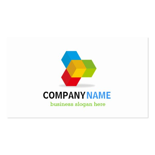 Colorful 3D Cube Logo - Creative and Unique Business Card Templates (back side)