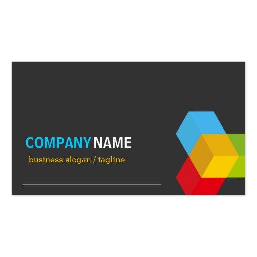 Colorful 3D Cube Logo - Creative Modern Dark Business Card Template (back side)