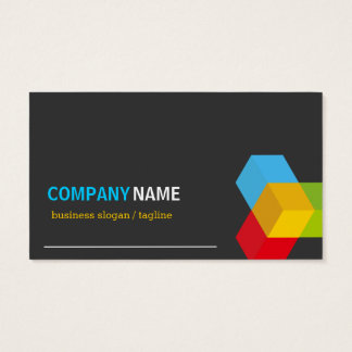 Colorful 3D Cube Logo - Creative Modern Dark Business Card