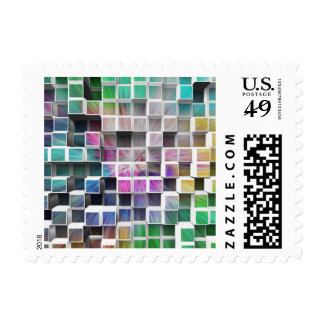 Colorful 3D Cubes 1 Postage Stamp