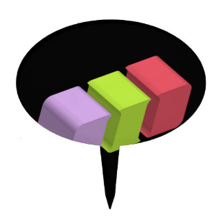 colorful 3d cubes cake topper