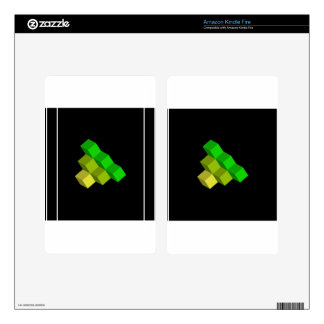 colorful 3d cubes decal for kindle fire