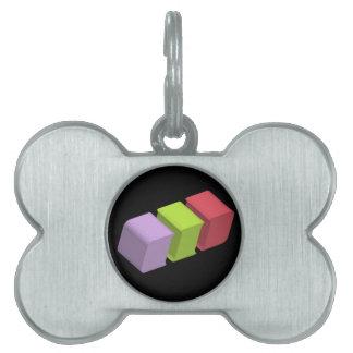 colorful 3d cubes pet ID tag
