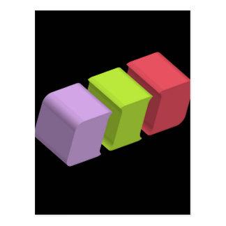 colorful 3d cubes postcard