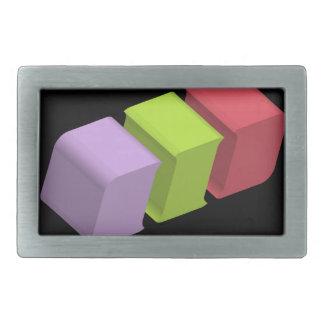 colorful 3d cubes rectangular belt buckle