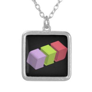 colorful 3d cubes square pendant necklace