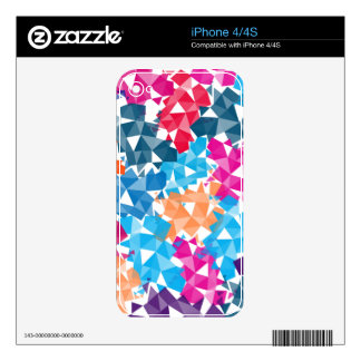 Colorful 3D geometric Shapes Decals For iPhone 4S