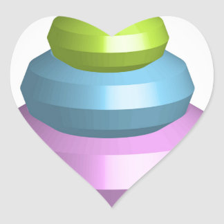 Colorful 3d object heart sticker