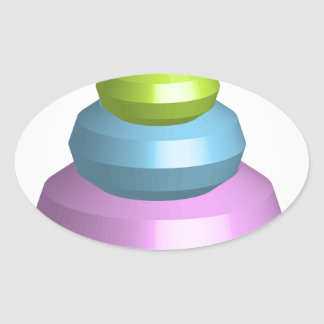 Colorful 3d object oval sticker