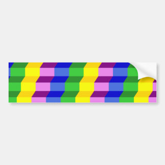 Colorful 3D Staircase Optical Illusion Pattern Bumper Sticker