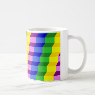 Colorful 3D Staircase Optical Illusion Pattern Coffee Mug