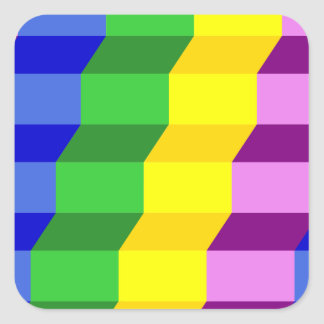 Colorful 3D Staircase Optical Illusion Pattern Square Sticker