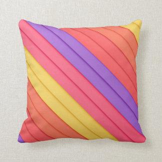 Colorful 3D Stripes Throw Pillows