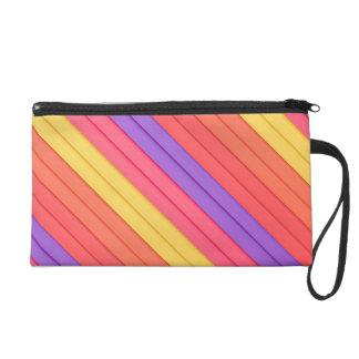 Colorful 3D Stripes Wristlet Clutch