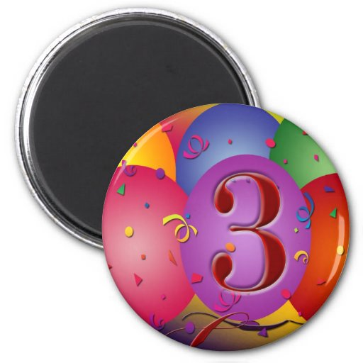 Colorful 3rd birthday balloon 2 inch round magnet