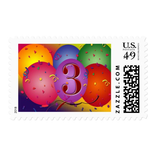 Colorful 3rd birthday balloon postage