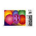 Colorful 3rd birthday balloon postage stamp