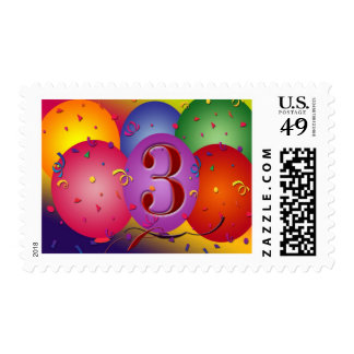 Colorful 3rd birthday balloon stamp
