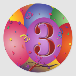 Colorful 3rd birthday balloon classic round sticker