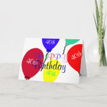 Colorful 40th Birthday Balloons Card