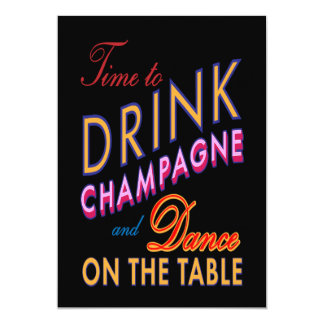 Colorful 40th Birthday Time to Drink Champagne Custom Announcements