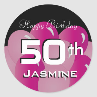Colorful 50th Birthday Balloons   Customize Classic Round Sticker