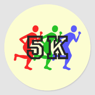 Colorful 5K runners Classic Round Sticker