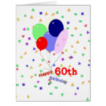 Colorful 60th Birthday Balloons Large Greeting Card