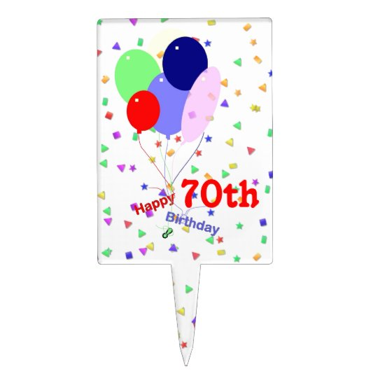 Colorful 70th Birthday Balloons Cake Topper