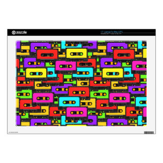 Colorful 80s analoge audio tape pattern skins for laptops